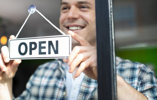 Man Smiling - Open for Business!